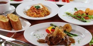 お料理はイタリアンのフルコースをご用意、メインお魚ORお肉のチョイス