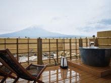 露天風呂付客室12.5畳富士山側の露天風呂