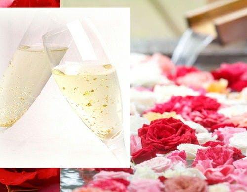 バラ風呂とスパークリングワインのイメージ