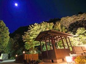 *【足湯・夜】満月の夜は少し幻想的です