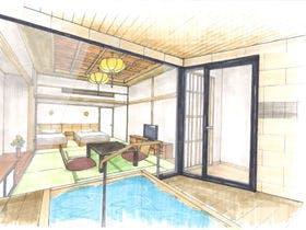 6F禁煙展望露天風呂付和洋室ツインベッド