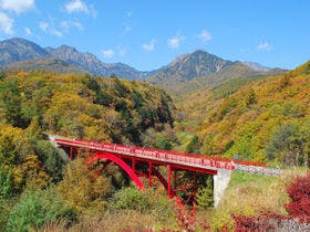 八ヶ岳の赤い橋<東沢大橋>の紅葉