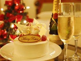クリスマスケーキ&シャンパンイメージ