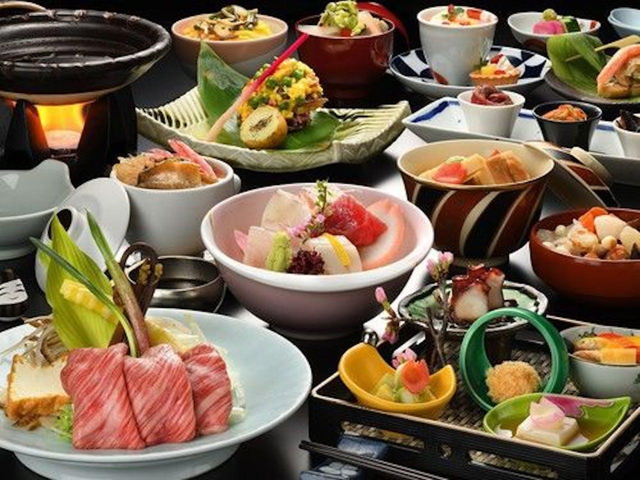 季節によって旬の食材を使った和会席一例