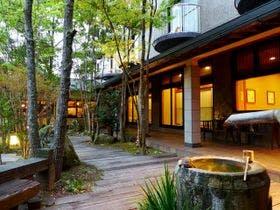 湯布院温泉で贅沢な時間を過ごしたいので露天風呂付客室と部屋食を楽しめる宿を教えてください。