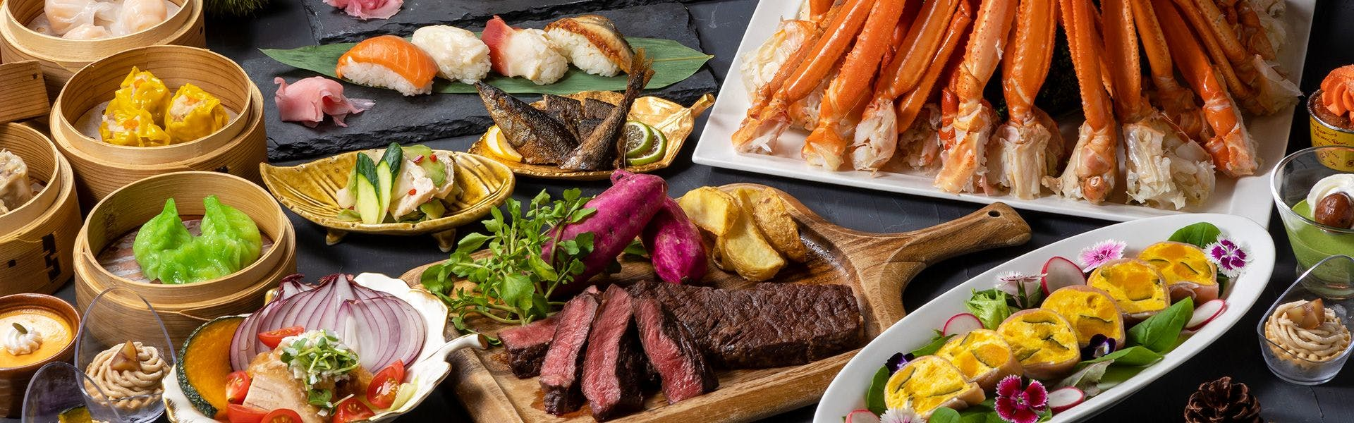 蟹ステーキ寿司ビュッフェ一例