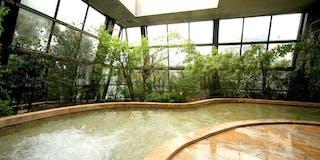 「四季の湯」・天井と壁面のガラスが自動開閉し、広く開放感溢れる