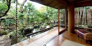 露天風呂付貴賓室の日本庭園