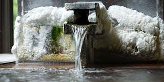 掛け流しの温泉が溢れる内湯