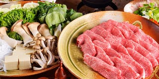 Aコース:鉄鍋ミスジ牛肉のしゃぶしゃぶ もしくは すき焼き