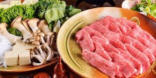 Aコース :鉄鍋で楽しむミスジ牛肉のしゃぶしゃぶ